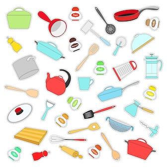 Набор наклеек с посудой в плоский. векторная иллюстрация.