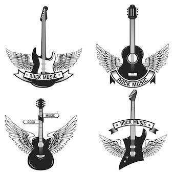 ギターと翼を持つラベルのセット。ロックミュージック。エンブレム、記号、バッジの要素。図