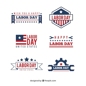 Set of labor day labels with vintage style