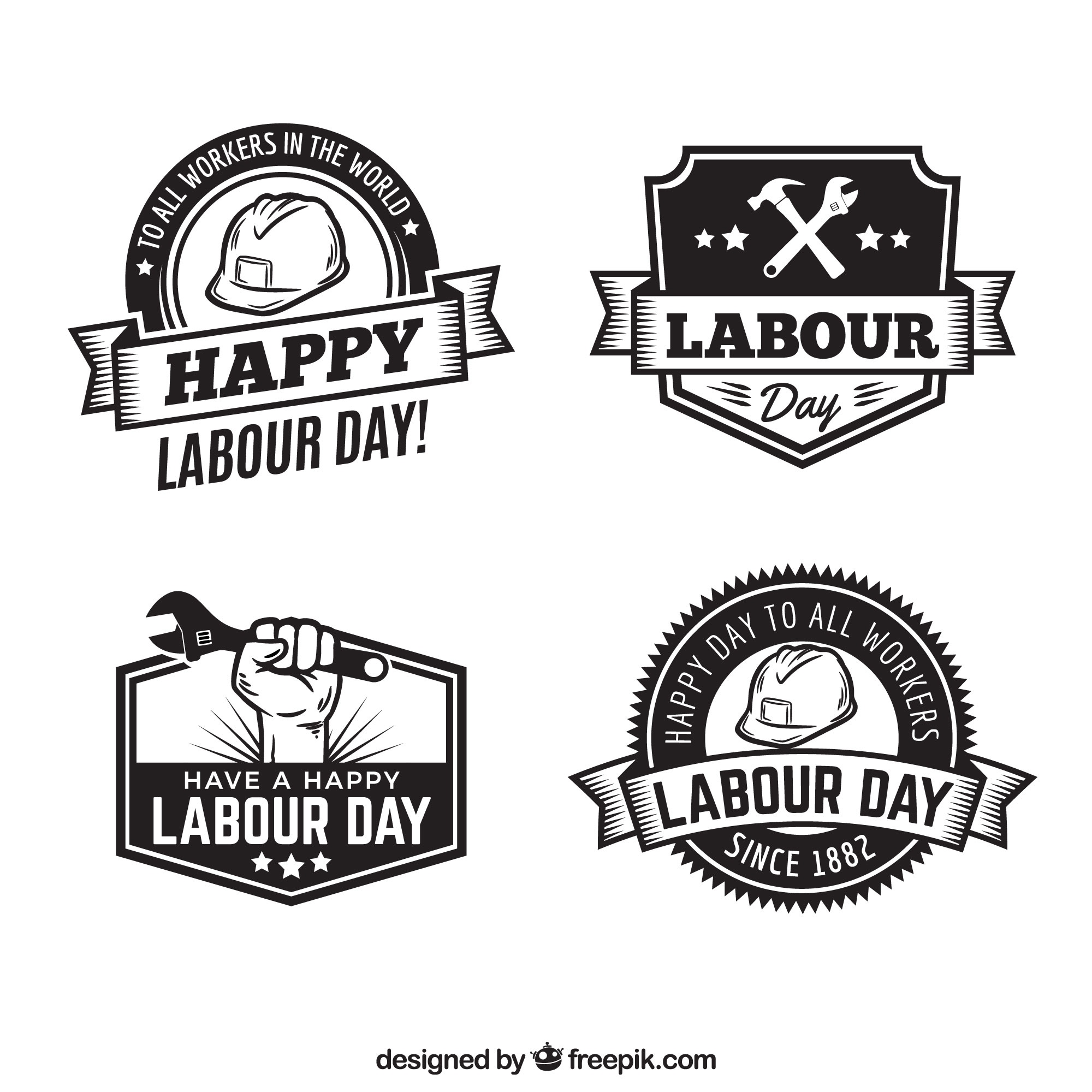 Set of labour day badges in vintage style