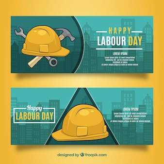 Set of labour day banners with tools