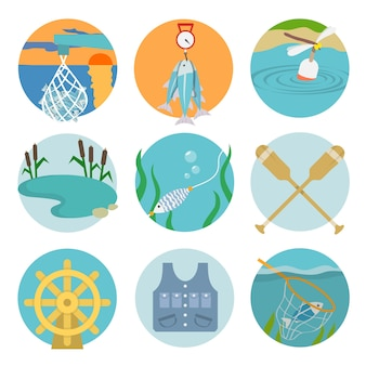 Set of lake paddles catch icons in flat style on color circles vector illustration