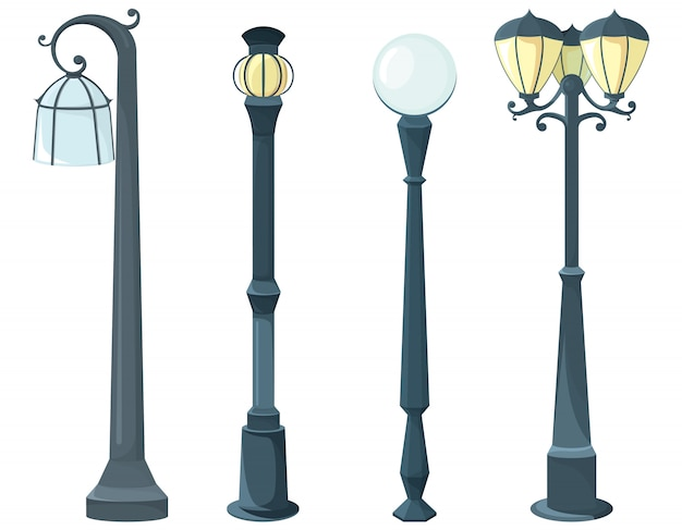 ランプポストのセット。ヴィンテージ照明器具。