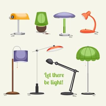 램프 세트. 가구 및 플로어 램프 및 테이블 램프.