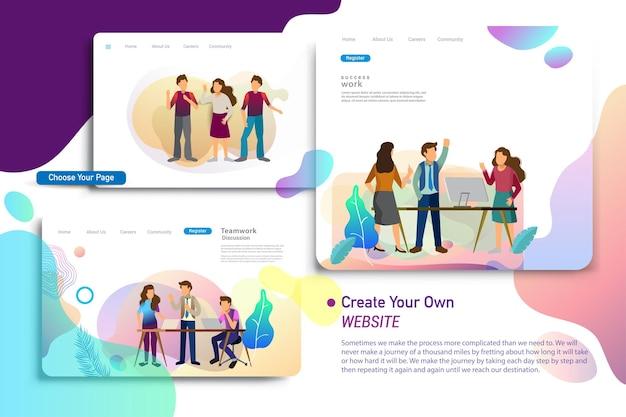 ランディングページのデザインテンプレート、ビジネス戦略、分析、ブレーンストーミングのセット。ウェブサイトのデザインui / uxとモバイルウェブサイトの開発、ビジネスプレゼンテーションのための現代のベクトルイラストの概念