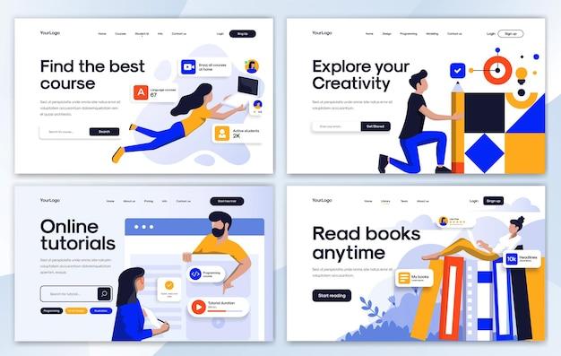Набор шаблонов дизайна целевой страницы в стиле плоский дизайн