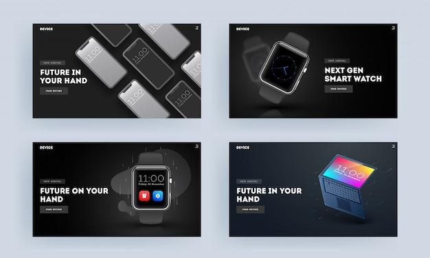 스마트 폰, 시계 및 노트북 일러스트와 같은 스마트 장치로 방문 페이지 또는 영웅 총의 집합입니다.