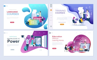 Set of landing page template for education, consulting, training, language courses.