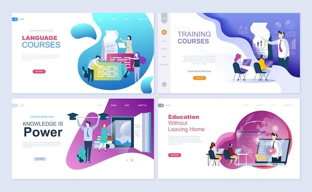 教育、コンサルティング、トレーニング、語学コースのためのランディングページテンプレートのセット。 Premiumベクター