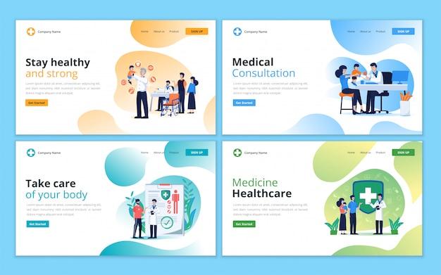 의료 상담, 의료 지원, 건강 관리 및 의료 서비스를위한 방문 페이지 템플릿 세트