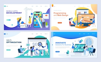 Set of landing page template for web development, SEO, mobile apps, business solutions.