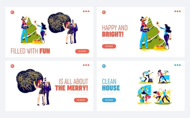Набор целевых страниц для празднования рождества с людьми, украшающими новогоднюю елку и пьющими шампанское.