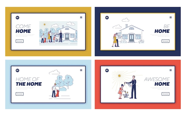 부동산 기관 웹 사이트 디자인을위한 방문 페이지 세트