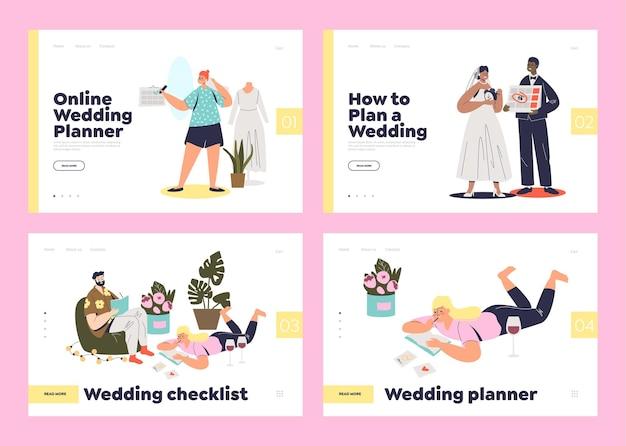 結婚式の計画と準備サービスのためのランディングページのセット