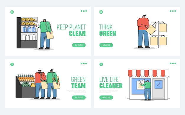 エコロジーウェブサイトのゼロウェイストコンセプトのランディングページのセット