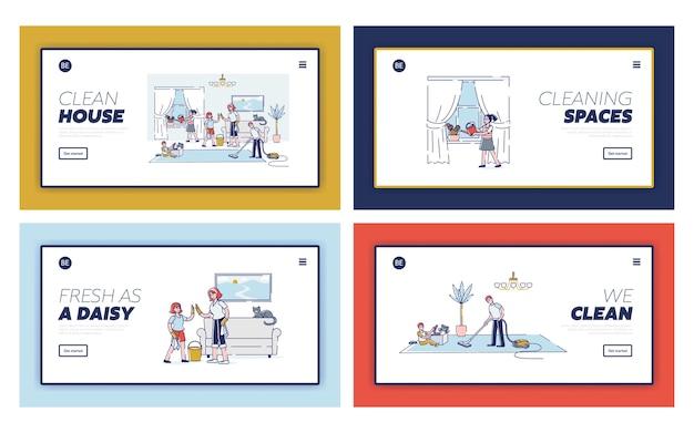 부모가 집을 청소하는 것을 돕는 아이들과 함께 가족 웹 사이트를위한 방문 페이지 템플릿 세트