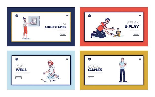 개발 및 교육을위한 논리 게임을하는 만화가 포함 된 방문 페이지 세트