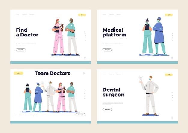 의사가 원격 상담을 통해 의료 플랫폼에서 작업하는 방문 페이지 세트
