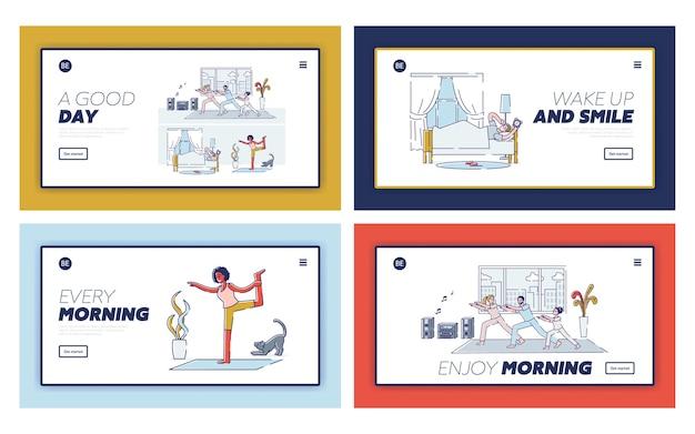 朝の活動を含むランディングページのセット:人々は目を覚ます、ヨガをする、家でストレッチする、家族は居間で一緒に運動する