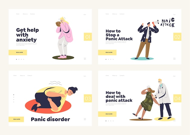 Набор целевых страниц с концепцией панической атаки и психического расстройства