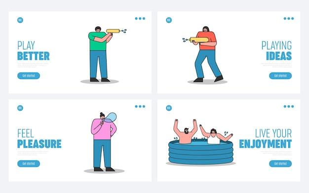 Набор целевых страниц с людьми, которые веселятся и наслаждаются летними водными развлечениями, чтобы освежиться
