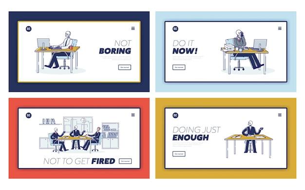 職場での仕事中毒のサラリーマンのスケルトンを含むランディングページのセット。ビジネス燃え尽き症候群の概念