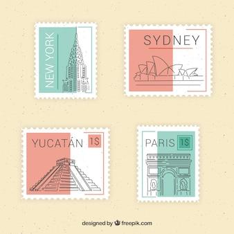 Набор знаковых марок с разными городами в плоском стиле