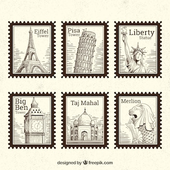 Set of landmark stamps with different cities in hand drawn style
