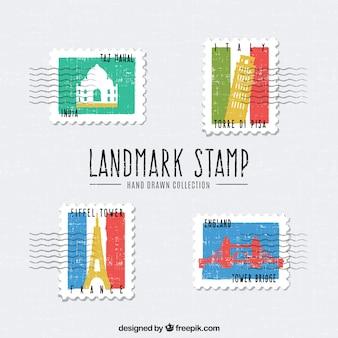 손으로 그린 스타일에 다른 도시와 랜드 마크 우표의 세트
