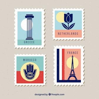 빈티지 스타일의 다른 도시와 랜드 마크 우표의 세트