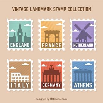 Набор знаковых марок с разными городами в винтажном стиле