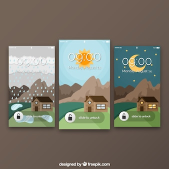 Набор пейзажных обоев с домом для мобильных
