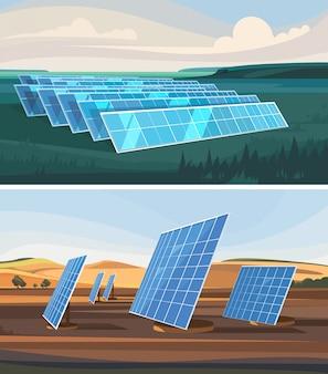 風力発電所とソーラーパネルのある風景のセット。代替エネルギー。