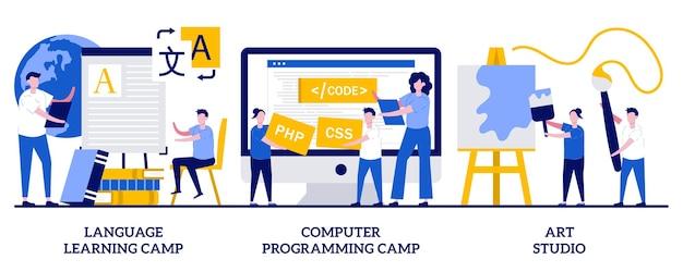 言語学習とコンピュータープログラミングキャンプ、アートスタジオのセット