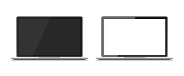 白で隔離ラップトップデバイスのセット