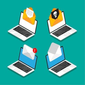 アイソメ図スタイルの画面上のドキュメントとエンベロープのラップトップのセット。新しい手紙を取得または送信します。ウイルスが入ったメール。電子メール、マーケティング、インターネット広告の概念。図。
