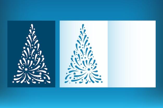 Набор шаблонов рождественской открытки с лазерной резкой