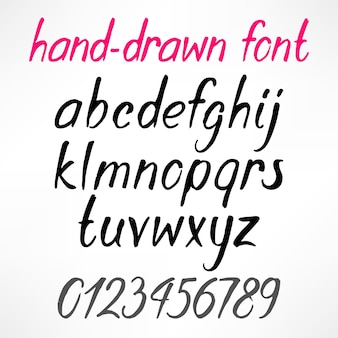 ラテン語の手描きの文字と数字のセット