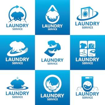 Набор логотипа службы прачечной