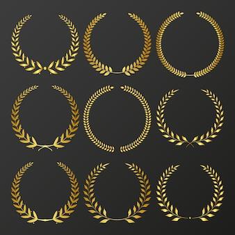 賞のための月桂樹の花輪のセット