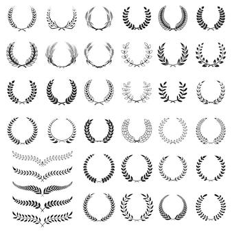 月桂樹の花輪のアイコンのセットです。ロゴ、ラベル、エンブレム、サインの要素。図