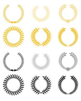月桂樹の花輪のセット