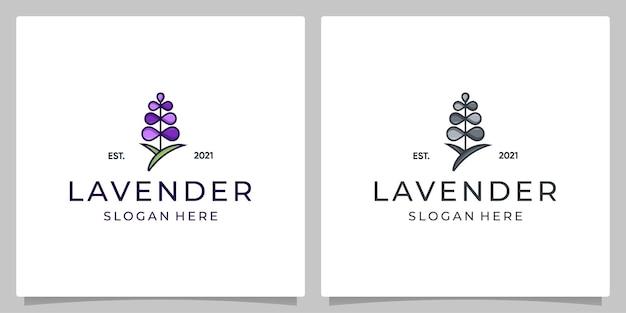 라벤더 꽃 디자인 벡터 템플릿 집합입니다. 트렌디한 선형 스타일과 풀 컬러의 로고.