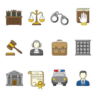 法と正義のアイコンのセット。カラフルな輪郭を描かれたアイコンのコレクション。