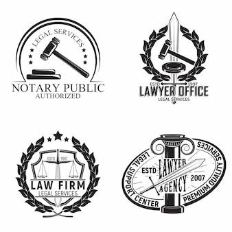 法律事務所のエンブレムデザイン、弁護士代理店や公証人のエンブレム、ビンテージ裁判所のタイポグラフィエンブレムのセット