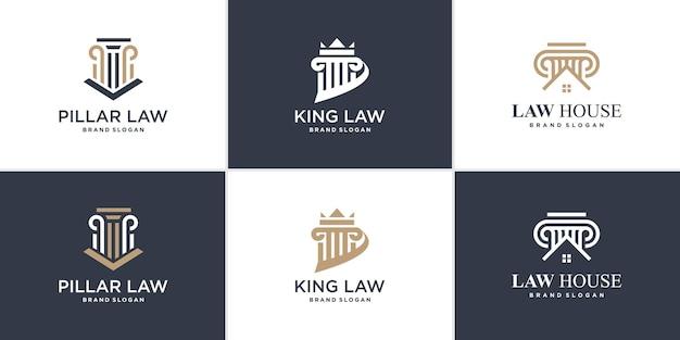 Набор элементов логотипа закона с уникальным стилем premium векторы Premium векторы