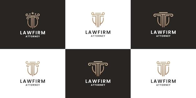 Набор эмблемы дизайна логотипа адвоката. щит правосудия с концепцией столпа