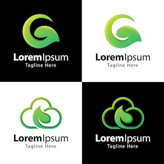 葉のロゴのデザインテンプレートのセット