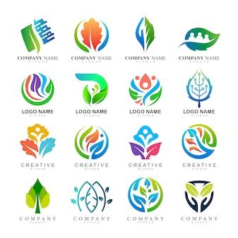 Set of leaf logo, leaf logo collection