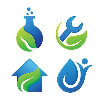 葉の自然のロゴのデザインのセット